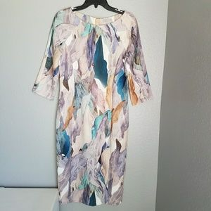 H&M Long Fitted Abstract Print Dress